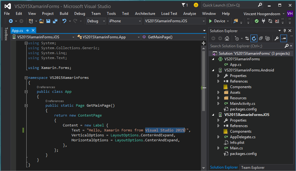 Vincenth on why and how to get started with visual studio create a xamarin forms project ccuart Gallery
